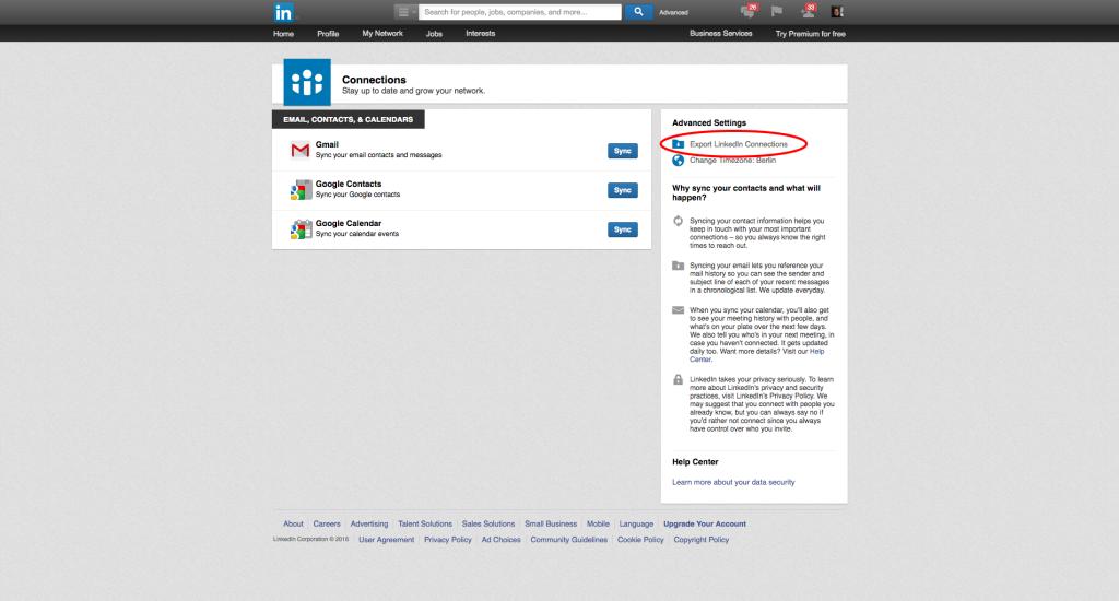 LinkedIn-Kontakte exportieren - Schritt 3