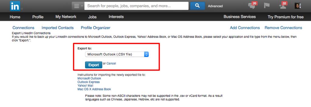 LinkedIn-Kontakte exportieren - Schritt 4