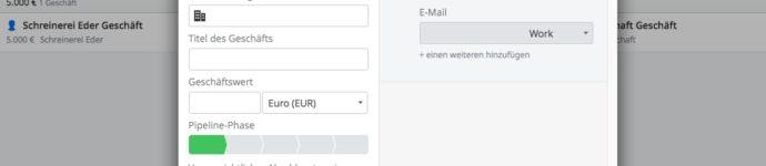 Erweitertes Angebotsformular in Pipedrive um die Felder Telefon und E-Mail ergänzt