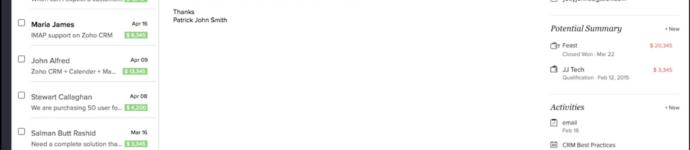 SalesInbox von Zoho CRM – Screenshot von Zoho CRM