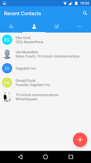 Screenshot Highrise Android App recent contacts