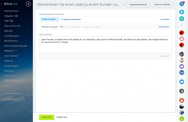 Bitrix24 CRM-Marketing Sofortnachrichten