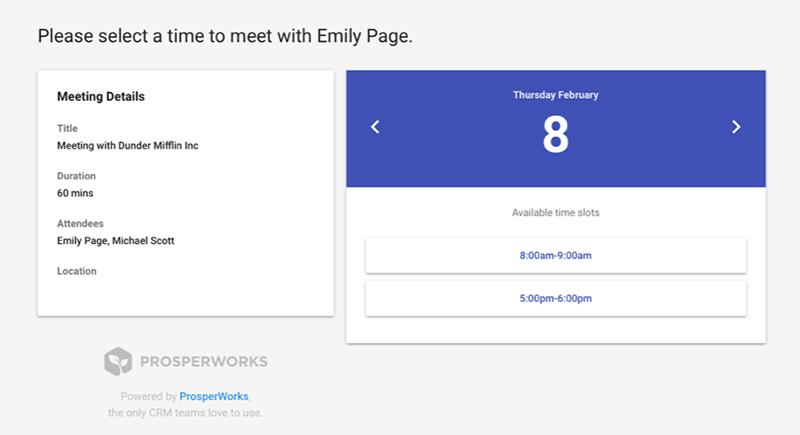 ProsperWorks 18 Neuerungen Meeting Scheduler Beta