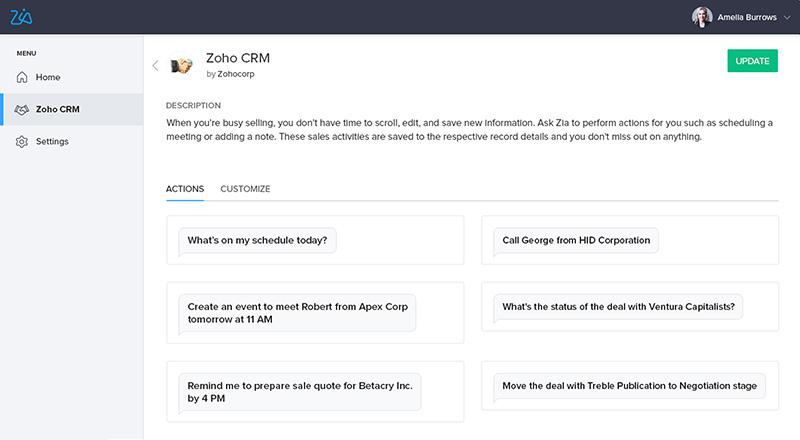 Zoho CRM 2018 Skill Action Zia Voice