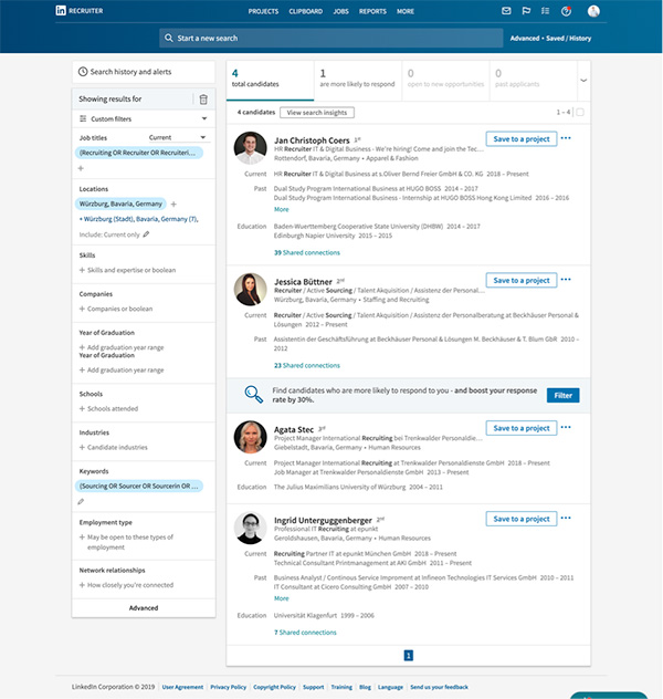 LinkedIn Recruiter_Screenshot Advanced Search