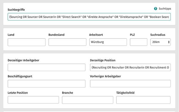 XING Talent Manager Suche vollständige Formularansicht